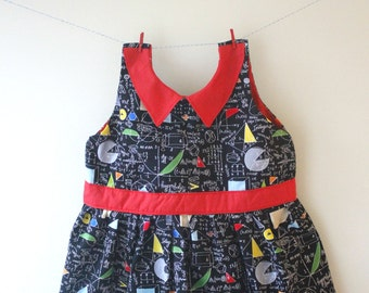 Maths dress, science dress, maths print, maths gift, science print, science dress, baby dress, toddler dress, geek chic, geek gft