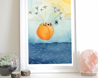 James and the Giant Peach Wall Art Illustration Bugs Ocean Seagulls Flying Print Wall Art