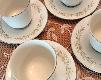 Mismatched teacups and saucers set of 4
