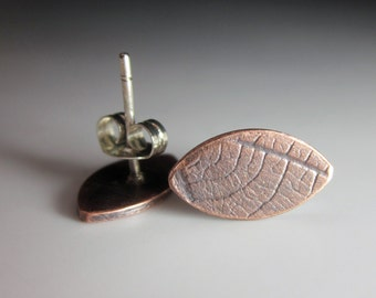 "Copper leaf studs with sterling posts hand fabricated ""Shelley"""