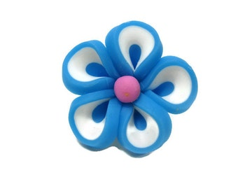 Blue Polymer Clay Flowers 22mm Beads Set of 4 (L03)