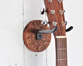 Guitar Wall Mount. Etch wood sea life mandala wall hanger. Hand forged steel holder