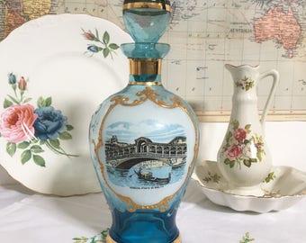 Vintage Blue and Gold Venetian Glass Carafe/Decanter, Souvenir of Venice