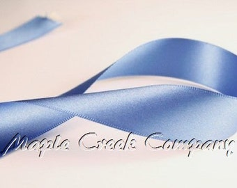 "5 yards Smoke Blue Double Face Satin Ribbon, 5 Widths Available: 1-1/2"", 7/8"", 5/8"", 3/8"", 1/4"""