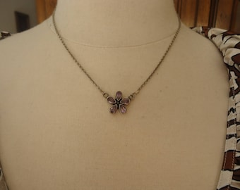 """Vintage Amethyst Flower Pendant in 925 Sterling Silver with Sterling Silver Chain, Adjustable to 18"""""""