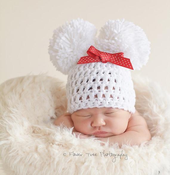 Newborn pom pom hat baby hat with bow newborn photo prop newborn girl hat crochet infant hat white newborn hat warm winter hat