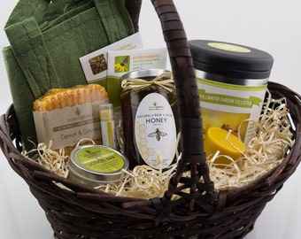 Homestead Garden Gift Basket w/ Handmade Soap, Lip Balm, Lotion Bar, Raw Honey, Beeswax Candle & Heirloom Garden Seed Collection