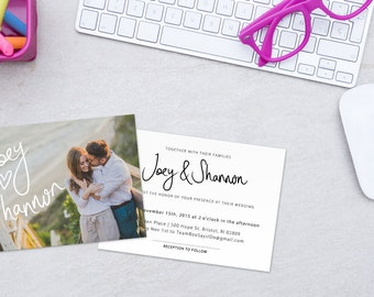 Wedding Invitation Template with Photo Wedding Invite Digital Download