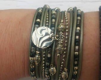 Boho Wrap Bracelet - Gray & Silver Wrap Bracelet - Multistrand Leather Bracelet - Wrap Bracelets for Women - Best Selling Item