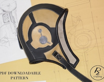 aviator hat sewing pattern, steampunk hat  PDF pattern,retro  biker hat