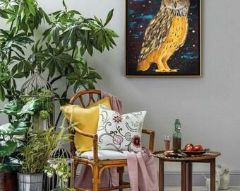 Owl painting Acrylic on hardboard Painting birds acrylic Bird art  Painting of an owl Bird painting acrylic Owl artwork Owl acrylic painting
