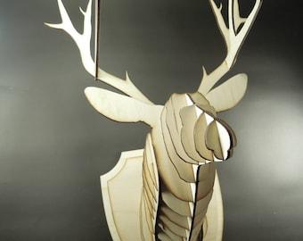Large wooden deer head with antlers. Home decoration, crazy gift. Laser cut slices 3D stag deer.