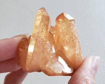 Tangerine Aura Quartz Cluster