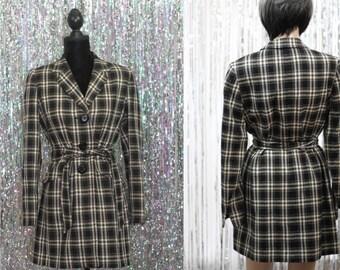 Le Suit Trench Cotton Black & White Plaid  Jacket (9-10)
