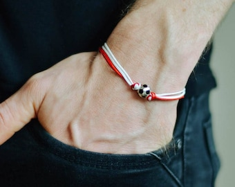 Soccer bracelet for men, sports team men's bracelet, soccer football ball, red and white, Manchester, gift for him, Munich