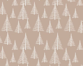 STOF Fabrics by Blank Quilting - Silent Christmas - Trees - Tan