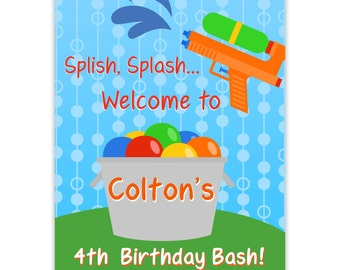 Water Party Poster - Blue Polka Dot Sky, Rainbow Water Balloons, Water Gun Personalized Birthday Party Welcome Sign - Digital Printable File