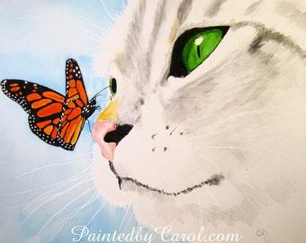 Cat Print, Gray Tabby Print, Cat Art, Cat Wall Art, Cat Home Decor, Cat Wall Decor, Cat Painting, Gray Tabby Art, Gray Tabby Painting