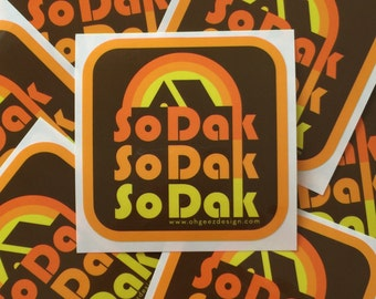 SoDak Sticker - South Dakota Decal -So Dak Retro Sticker - South Dakota Vinyl Sticker - So Dak Vinyl Decal by Oh Geez Design