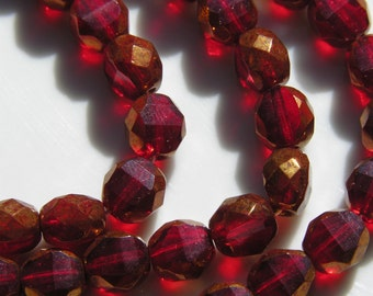 Ruby and Bronze Two Way Fire Polish 8mm Round Beads  25