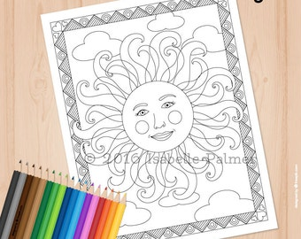 Cheerful Sun 2 -- Coloring Page for Adults (Digital Download)