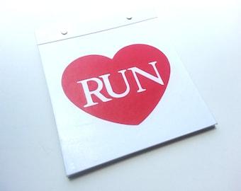 Race Bib Holder - Love Running Heart - Hand-bound Book for Runners