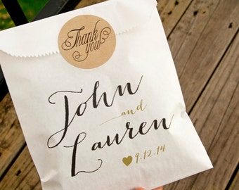 Custom Wedding Favor Bags - Country Calligraphy Names - Personalized Candy or Cookie Bag - 20 White Favor Bags included