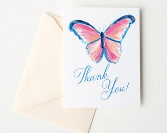 Watercolor Butterfly Thank you Card Set of 10, Illustrated Butterfly Thank You Cards, Wedding Thank You Cards