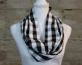 Black and White Buffalo Plaid Infinity Scarf, Gingham Scarf, Fall Scarf, Christmas Gift, Holiday Scarf, Women's Gift, Gift for Her