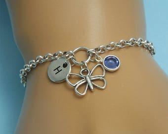 Silver butterfly bracelet women Personalized butterfly bracelet Butterfly jewelry bracelet Silver butterfly charm Butterfly gifts for women