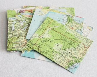 Recycled Map Envelopes / Around the World / Atlas Map Envelopes / set of 10, 4.5 x 6 by PrairiePeasant