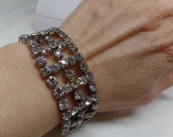 GARNE JEWELRY Signed Sparkling Ice Crystal Wide Bracelet