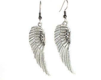 Silver Wings Fashion Earrings with Bead Details on Surgical Steel or Clip Ons