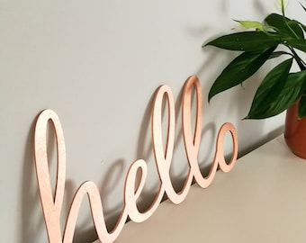 Hello Wood Wall Art | Wall Decal | 3D | Typography | Script Font | Any Colour | Removable | Office | Decor | Copper | Rose Gold | Scandi