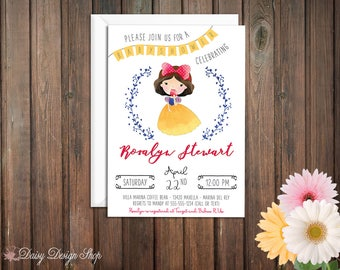 Baby Shower Invitation - Princess Snow White and Laurel in Watercolor Style