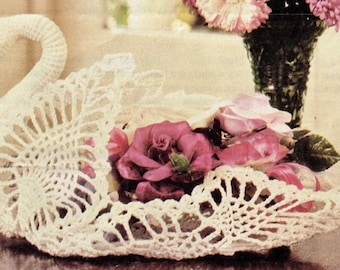 ViNTAGE 70s SWAN WeDDING Table CeNtrepiece oR a DECoRation Basket Plus Other Matching Items Listed Rare Crochet Pattern PdF Instant Download