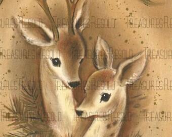Retro Deer Christmas Card #568 Digital Download