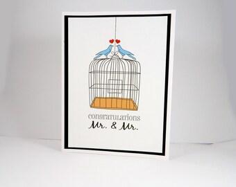 Gay men wedding card, Congratulations Mr & Mr, LBGT, same sex marriage, gay couple, gay marriage, newlywed, love birds, lovebirds, birdcage
