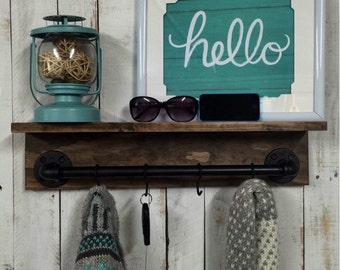 Rustic shelf, industrial pipe shelf, Rustic pipe furniture,wood shelf, wall shelf, industrial decor, home decor