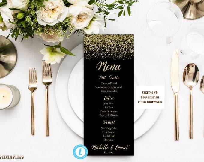 Wedding Menu Card Template, Black and Gold Menu Template, Rack Card Template, DIY Wedding, Instant Download, Black, Gold, Printable,Editable