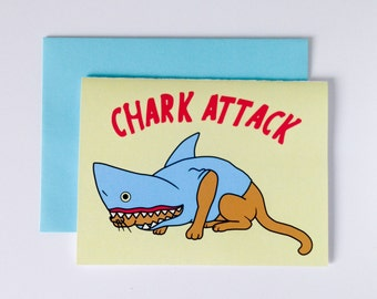 "Greeting Card ""Chark Attack"", Cat in a shark disguise, ready to attack, digital print"
