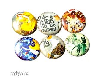 Ladies bicycle pinback button badges or fridge magnets, fridge magnet set