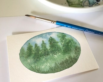 Dreamy Landscape No. 1 Tiny Original Watercolor Painting Free Shipping