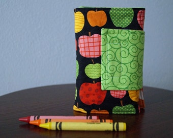 READY TO SHIP - Crayon Holder - Apples - Red, Green, Yellow - Crayon Wallet - Crayon Roll - Gift Idea Under 20