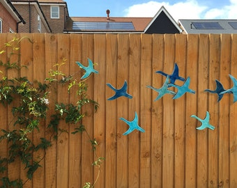 9 Flying Birds Outdoor Wall Art Made From Ceramic, Ceramic Wall Art, Birds  Garden
