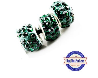 CLEARANCE -Glittery Glass BEADs, Dark GREEN, 12 pcs +FREE Shipping & Discounts*