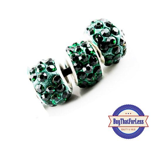 CLEARANCE -Glittery Glass BEADs, Dark GREEN, 12 pcs +FREE Shipping & Discounts*