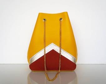 """Mini Bucket bag """"AUDE"""" yellow leather"""