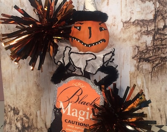 Halloween tree topper pumpkin doll pumpkin tree topper vintage retro inspired black and orange party decor