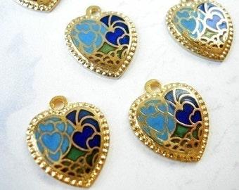 Vintage Enamel Heart Charms - Blue (6X) (E543)